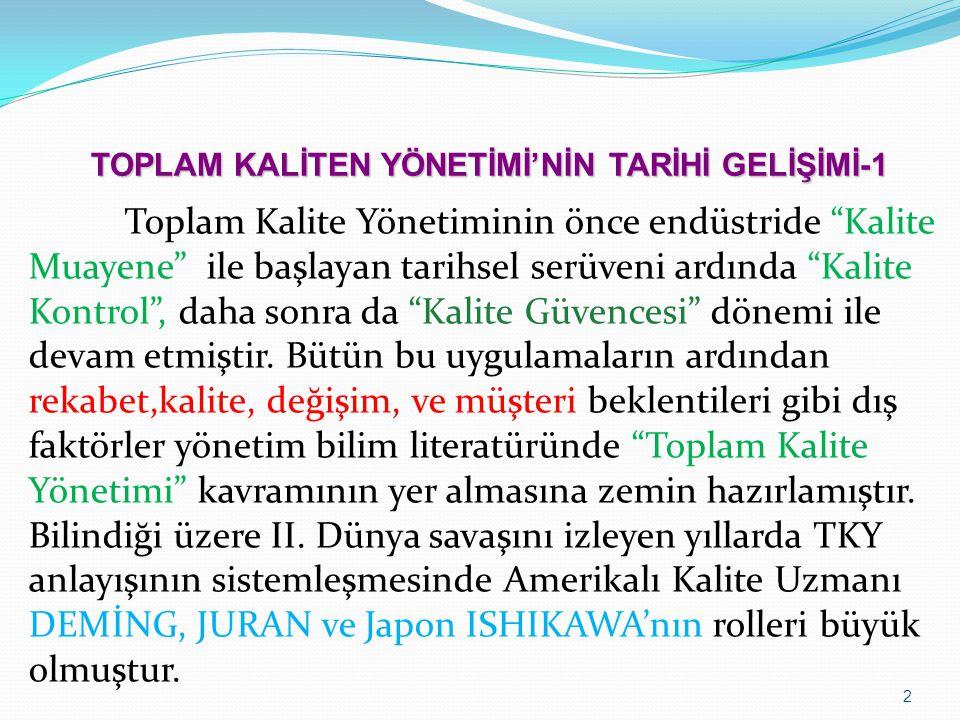 TOPLAM KALİTEN YÖNETİMİ'NİN TARİHİ GELİŞİMİ-1