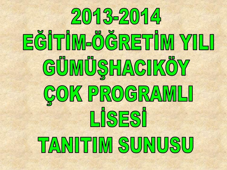2013-2014 EĞİTİM-ÖĞRETİM YILI GÜMÜŞHACIKÖY ÇOK PROGRAMLI LİSESİ TANITIM SUNUSU