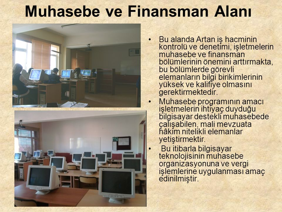 Muhasebe ve Finansman Alanı