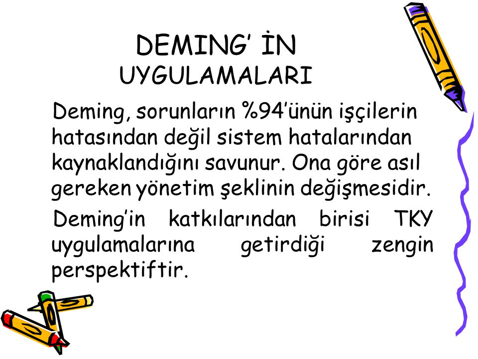 DEMING' İN UYGULAMALARI