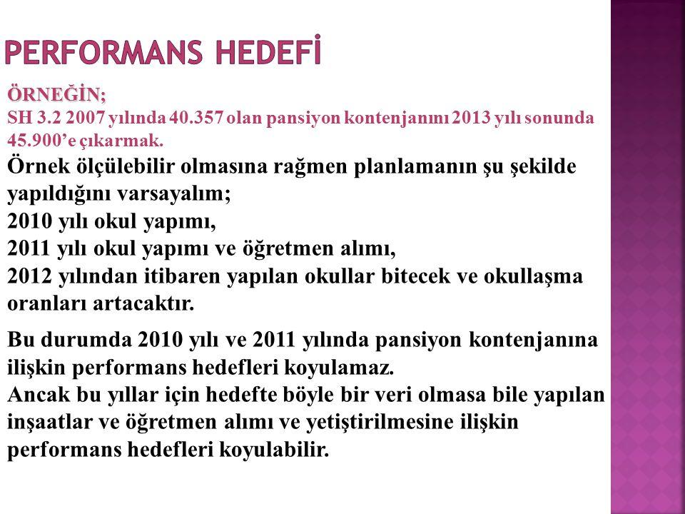 PERFORMANS HEDEFİ ÖRNEĞİN; SH 3.2 2007 yılında 40.357 olan pansiyon kontenjanını 2013 yılı sonunda 45.900'e çıkarmak.