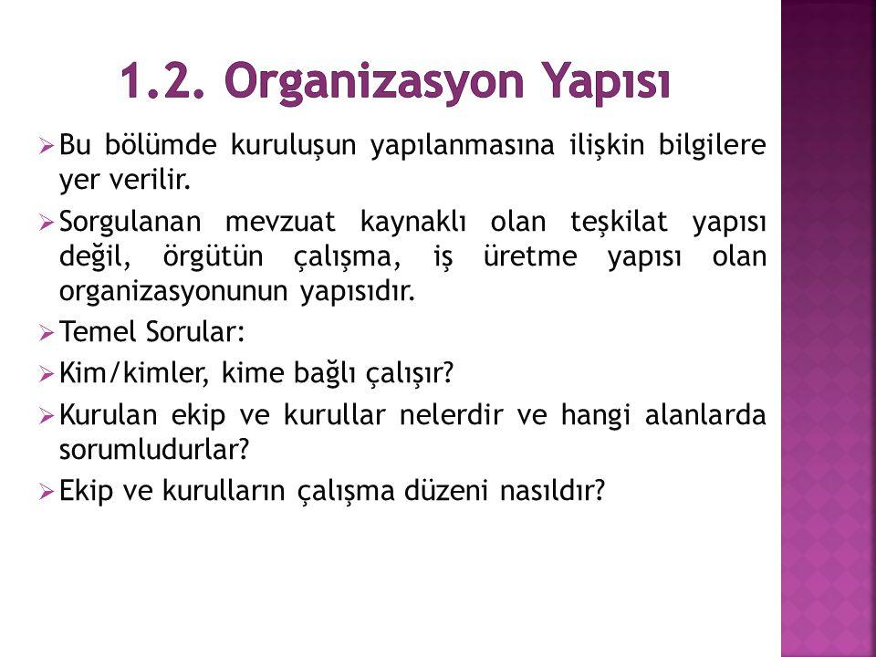 1.2. Organizasyon Yapısı Bu bölümde kuruluşun yapılanmasına ilişkin bilgilere yer verilir.
