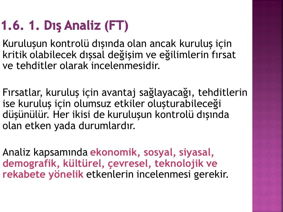 1.6. 1. Dış Analiz (FT)