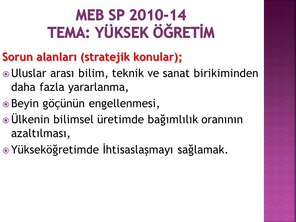 MEB SP 2010-14 Tema: YÜKSEK ÖĞRETİM