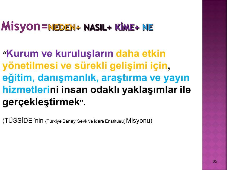 Misyon=NEDEN+ NASIL+ KİME+ NE