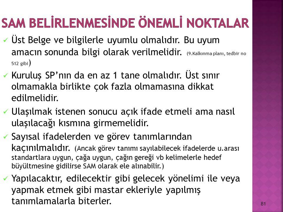 SAM BELİRLENMESİNDE ÖNEMLİ NOKTALAR