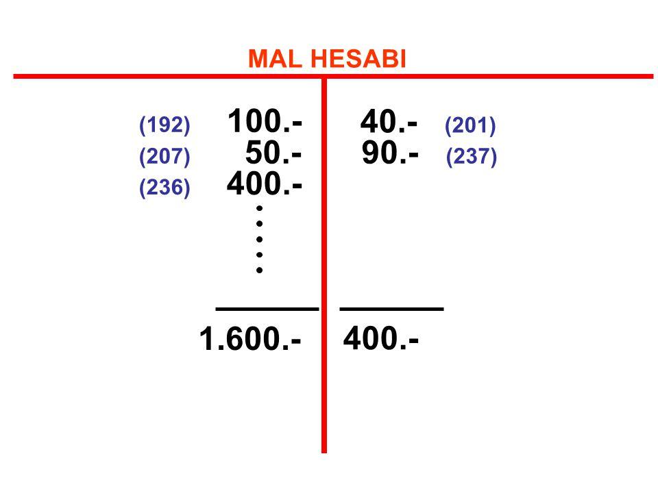 40.- (201) 90.- (237) MAL HESABI (192) 100.- (207) 50.- (236) 400.-