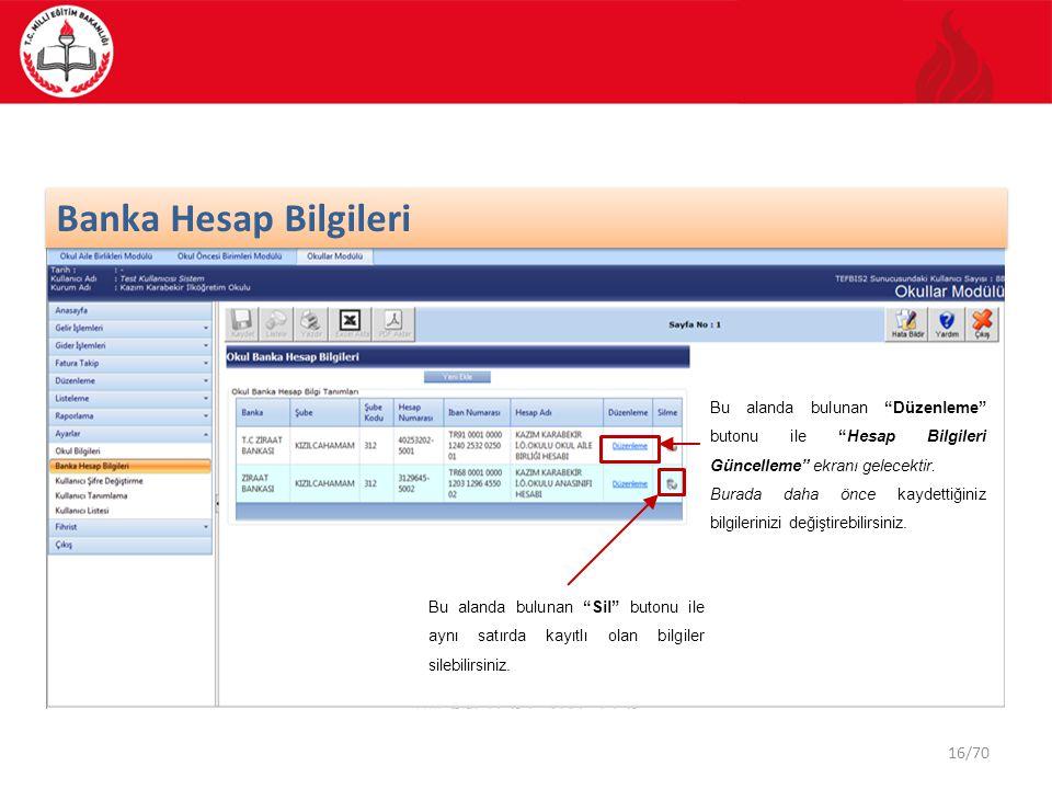 Banka Hesap Bilgileri Bu alanda bulunan Düzenleme butonu ile Hesap Bilgileri Güncelleme ekranı gelecektir.
