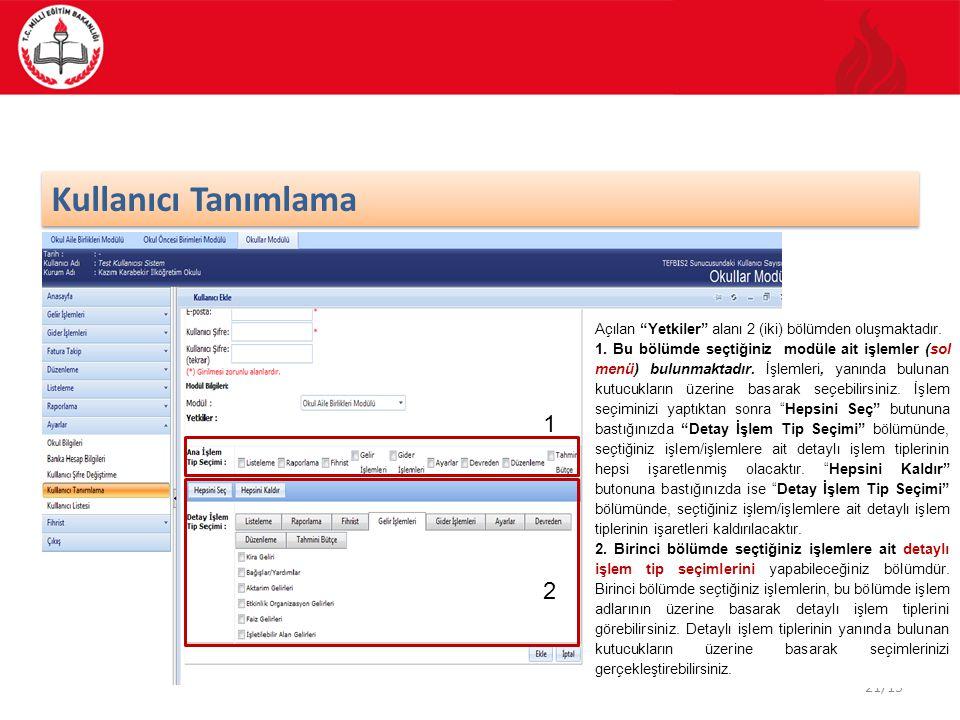 Kullanıcı Tanımlama Açılan Yetkiler alanı 2 (iki) bölümden oluşmaktadır.