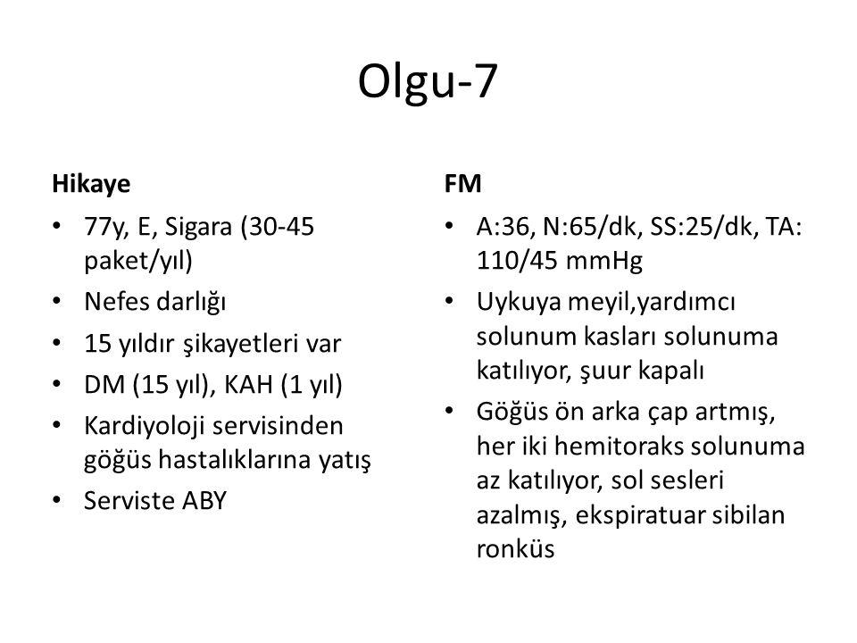 Olgu-7 Hikaye FM 77y, E, Sigara (30-45 paket/yıl) Nefes darlığı