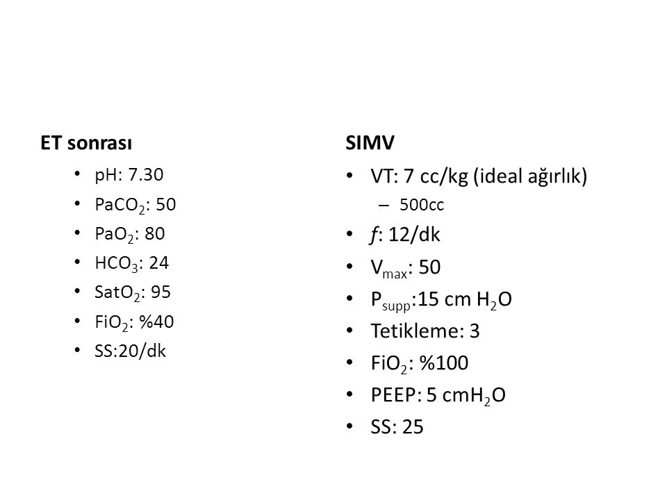 VT: 7 cc/kg (ideal ağırlık) f: 12/dk Vmax: 50 Psupp:15 cm H2O