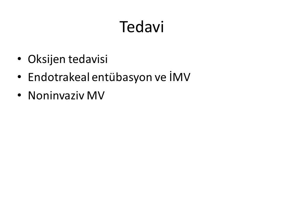 Tedavi Oksijen tedavisi Endotrakeal entübasyon ve İMV Noninvaziv MV