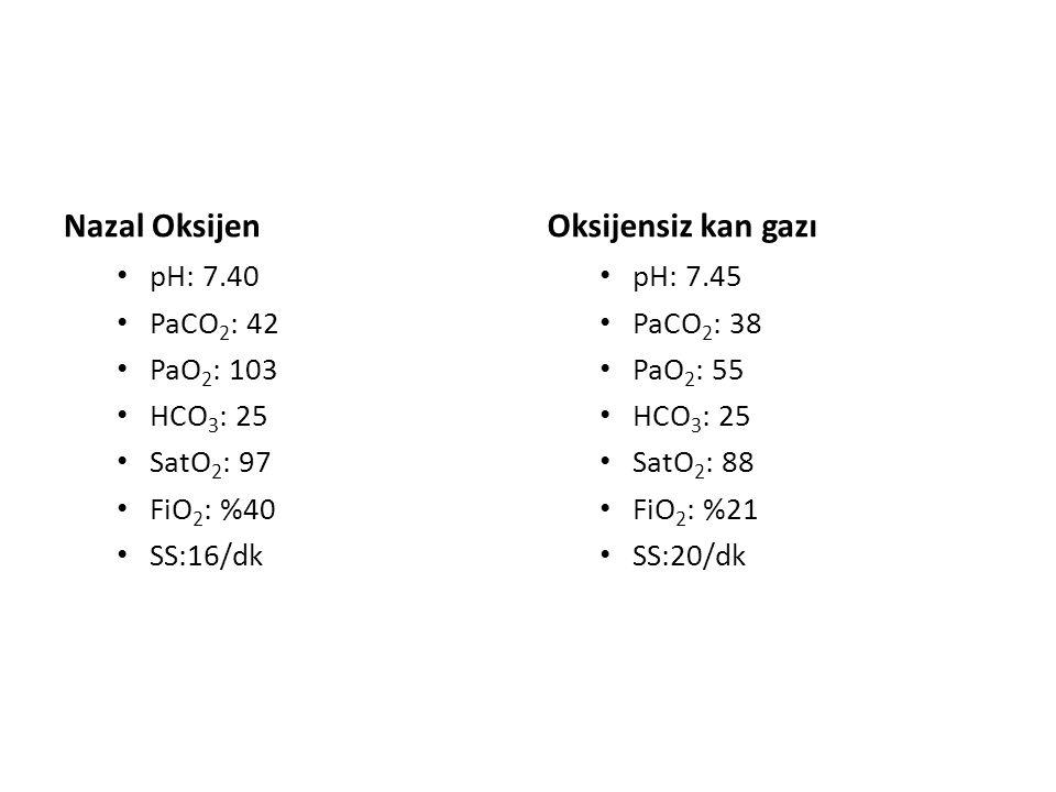 Nazal Oksijen Oksijensiz kan gazı pH: 7.40 PaCO2: 42 PaO2: 103