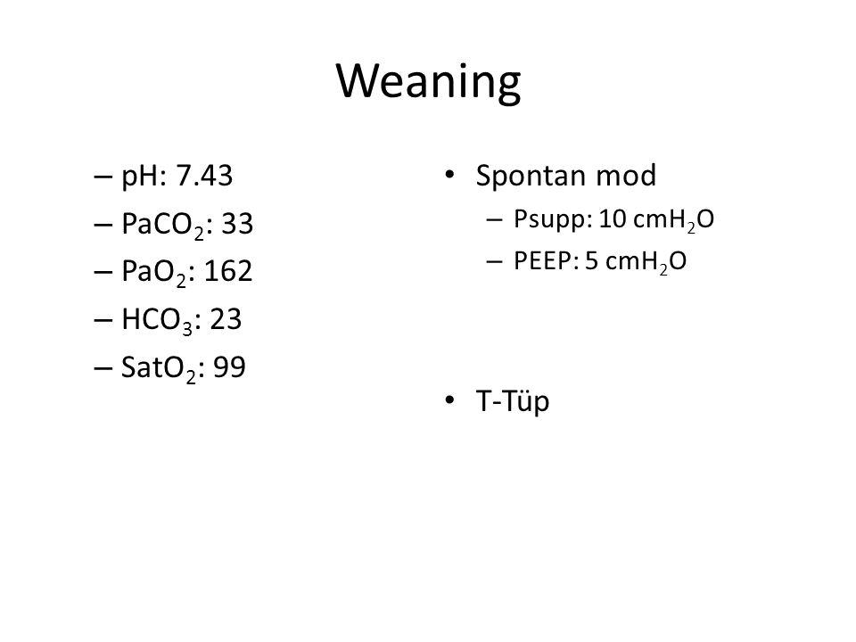 Weaning pH: 7.43 PaCO2: 33 PaO2: 162 HCO3: 23 SatO2: 99 Spontan mod