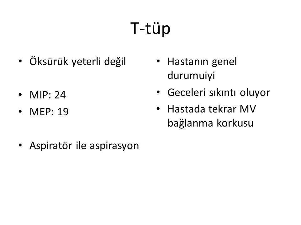 T-tüp Öksürük yeterli değil MIP: 24 MEP: 19 Aspiratör ile aspirasyon