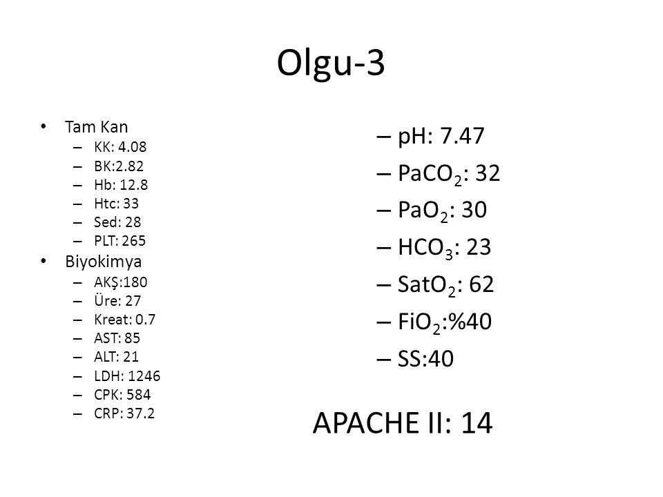 Olgu-3 APACHE II: 14 pH: 7.47 PaCO2: 32 PaO2: 30 HCO3: 23 SatO2: 62