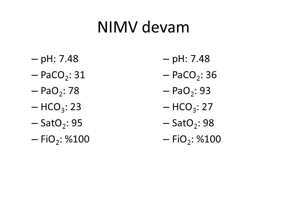NIMV devam pH: 7.48 PaCO2: 31 PaO2: 78 HCO3: 23 SatO2: 95 FiO2: %100