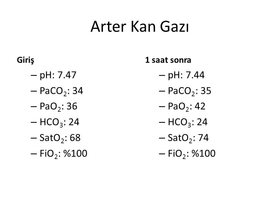 Arter Kan Gazı pH: 7.47 PaCO2: 34 PaO2: 36 HCO3: 24 SatO2: 68