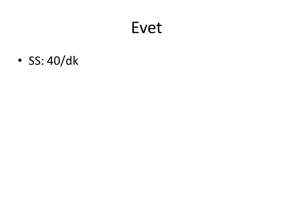 Evet SS: 40/dk