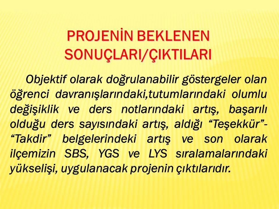PROJENİN BEKLENEN SONUÇLARI/ÇIKTILARI