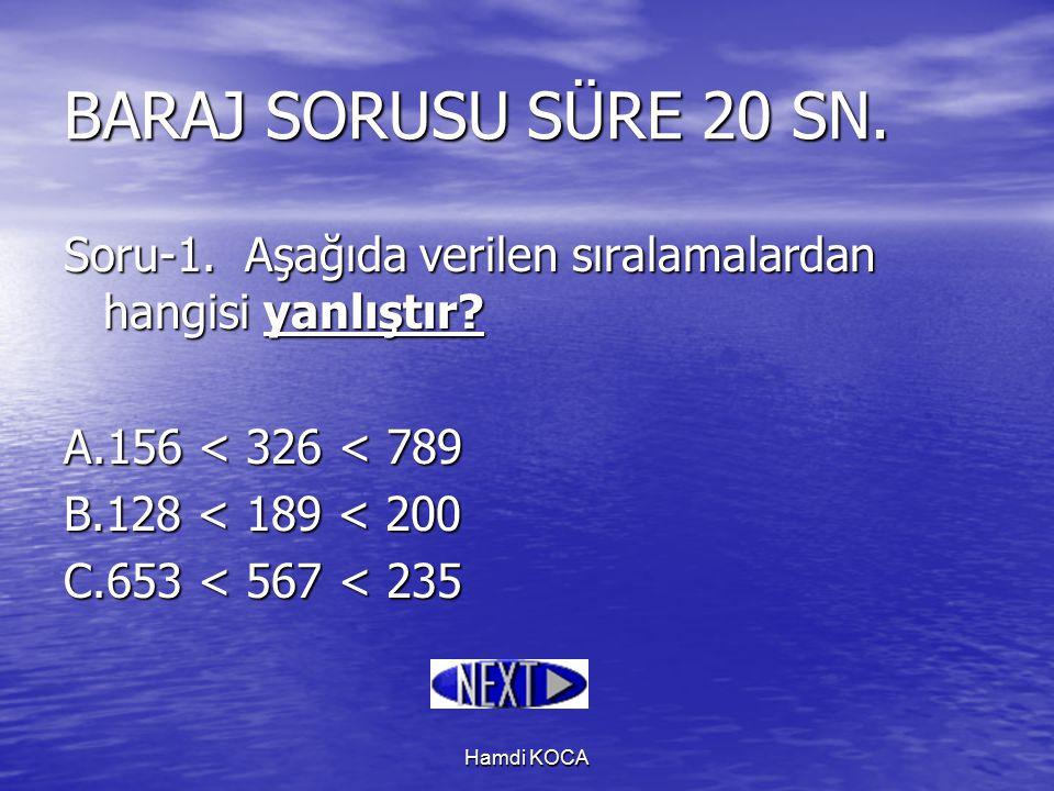 BARAJ SORUSU SÜRE 20 SN. Soru-1. Aşağıda verilen sıralamalardan hangisi yanlıştır A.156 < 326 < 789.