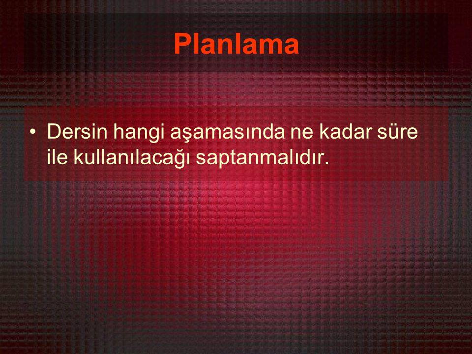 Planlama Dersin hangi aşamasında ne kadar süre ile kullanılacağı saptanmalıdır.
