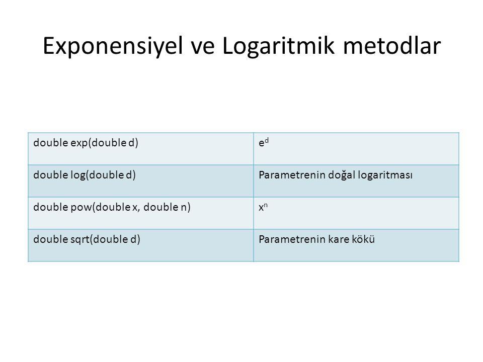 Exponensiyel ve Logaritmik metodlar