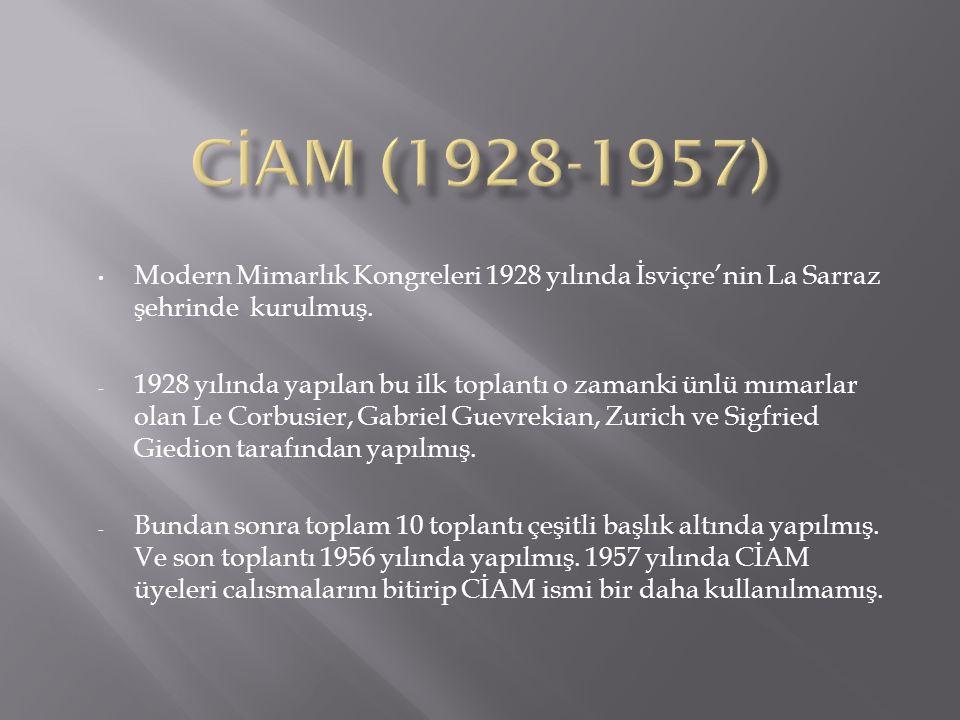 CİAM (1928-1957) Modern Mimarlık Kongreleri 1928 yılında İsviçre'nin La Sarraz şehrinde kurulmuş.
