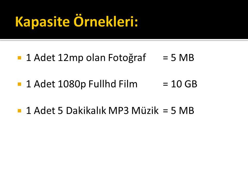 Kapasite Örnekleri: 1 Adet 12mp olan Fotoğraf = 5 MB