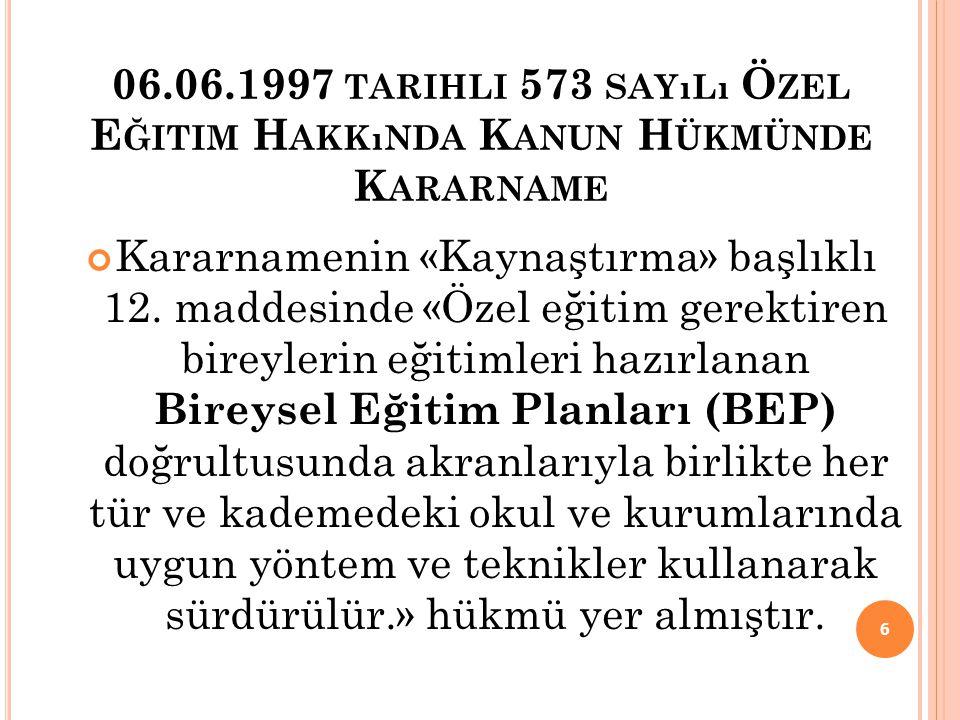 06.06.1997 tarihli 573 sayılı Özel Eğitim Hakkında Kanun Hükmünde Kararname