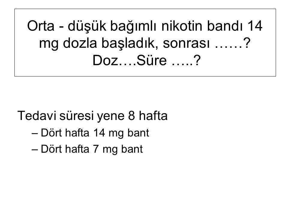 Orta - düşük bağımlı nikotin bandı 14 mg dozla başladık, sonrası ……
