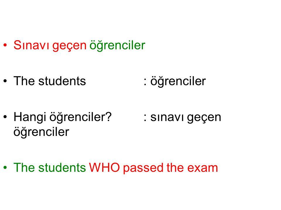 Sınavı geçen öğrenciler