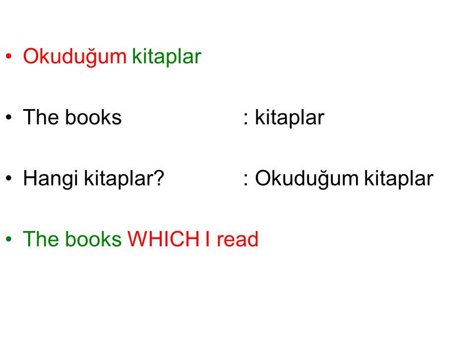 Okuduğum kitaplar The books : kitaplar. Hangi kitaplar.