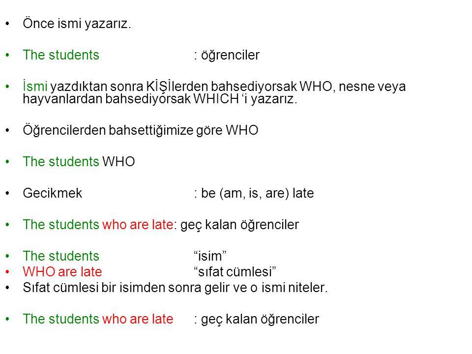 Önce ismi yazarız. The students : öğrenciler.