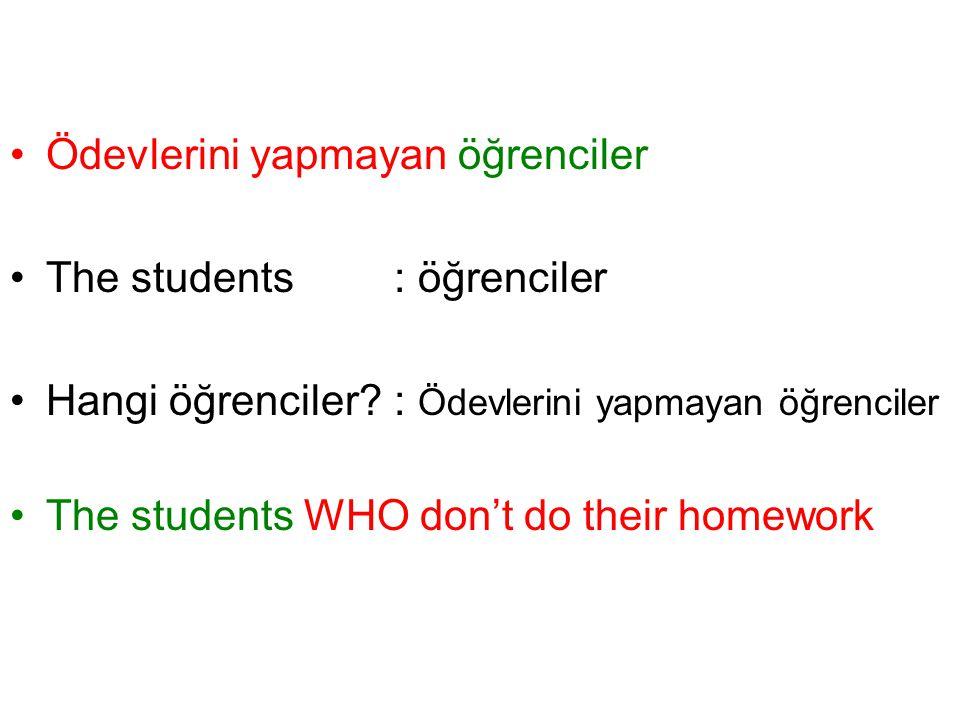Ödevlerini yapmayan öğrenciler