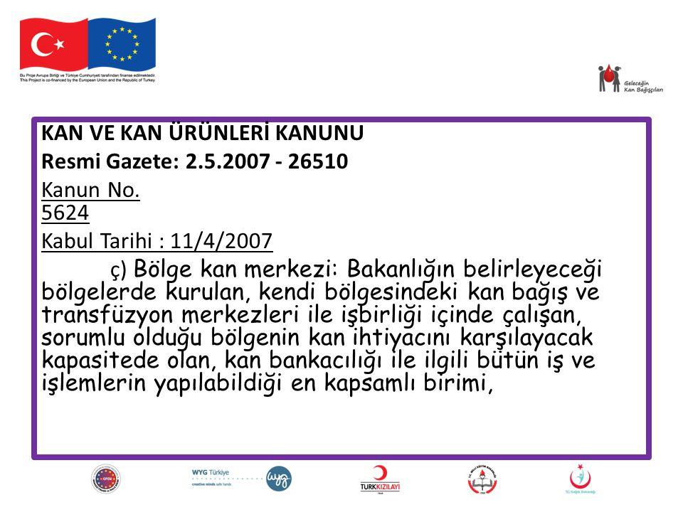 KAN VE KAN ÜRÜNLERİ KANUNU Resmi Gazete: 2. 5. 2007 - 26510 Kanun No