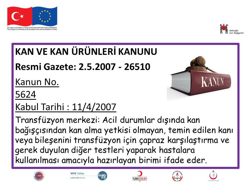 KAN VE KAN ÜRÜNLERİ KANUNU Resmi Gazete: 2.5.2007 - 26510
