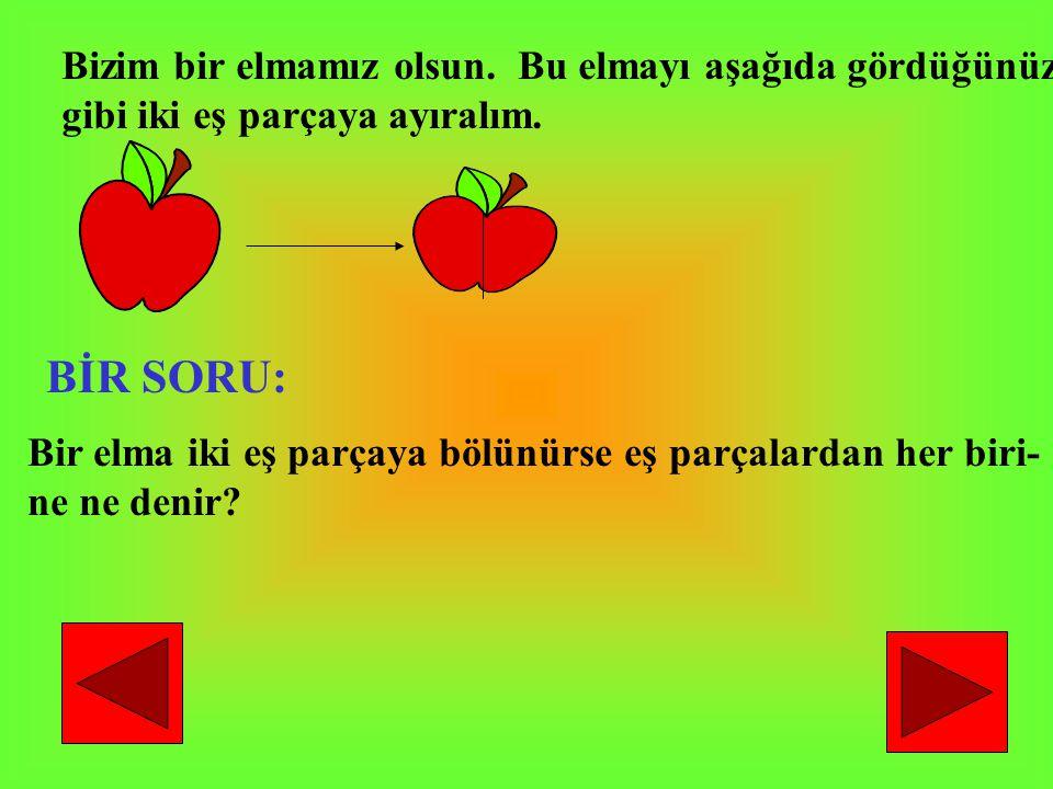 BİR SORU: Bizim bir elmamız olsun. Bu elmayı aşağıda gördüğünüz