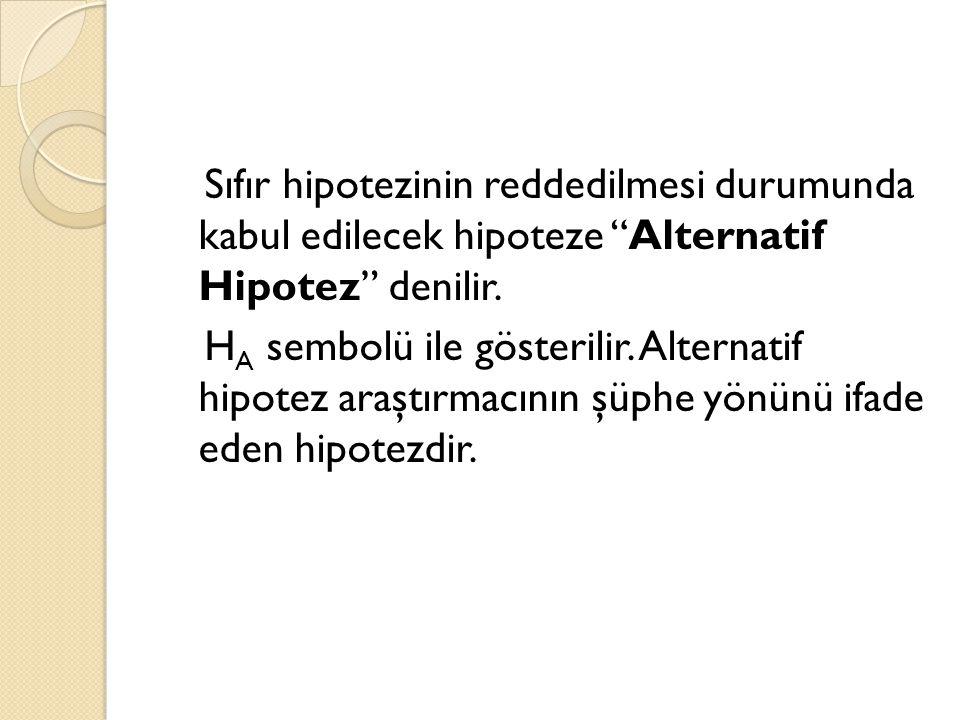 Sıfır hipotezinin reddedilmesi durumunda kabul edilecek hipoteze Alternatif Hipotez denilir.