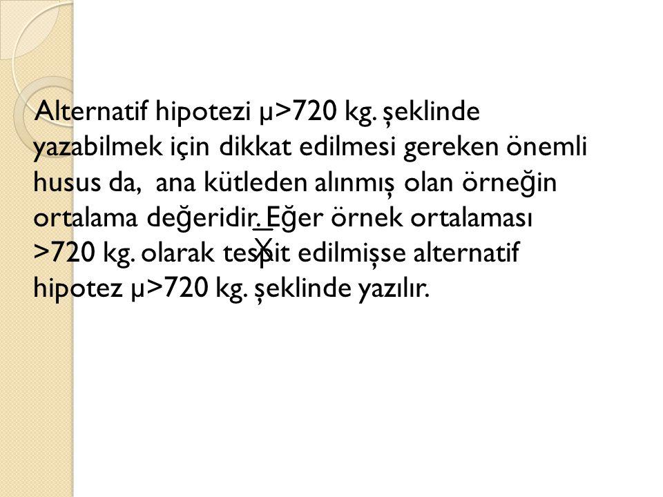 Alternatif hipotezi µ>720 kg