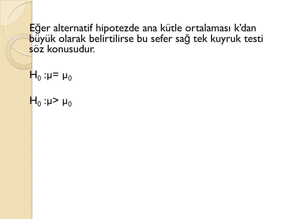 Eğer alternatif hipotezde ana kütle ortalaması k'dan büyük olarak belirtilirse bu sefer sağ tek kuyruk testi söz konusudur.