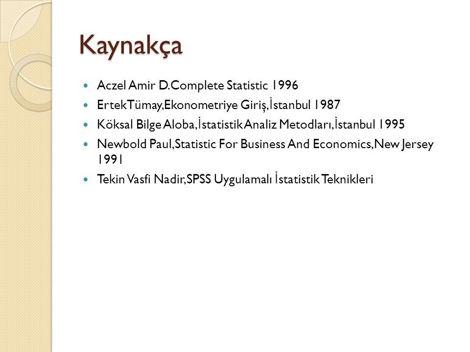 Kaynakça Aczel Amir D.Complete Statistic 1996