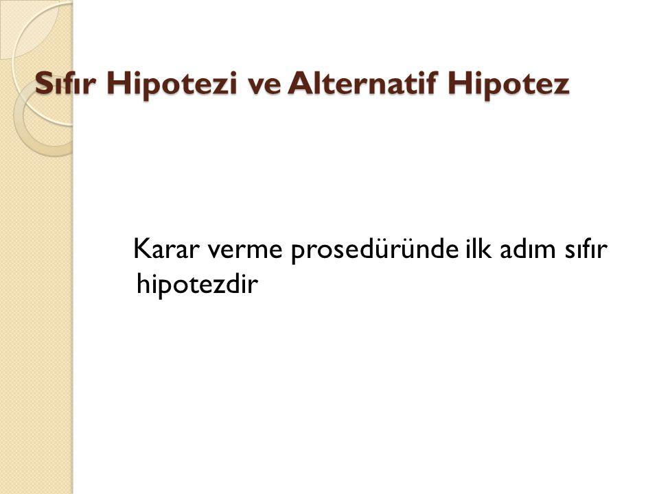 Sıfır Hipotezi ve Alternatif Hipotez
