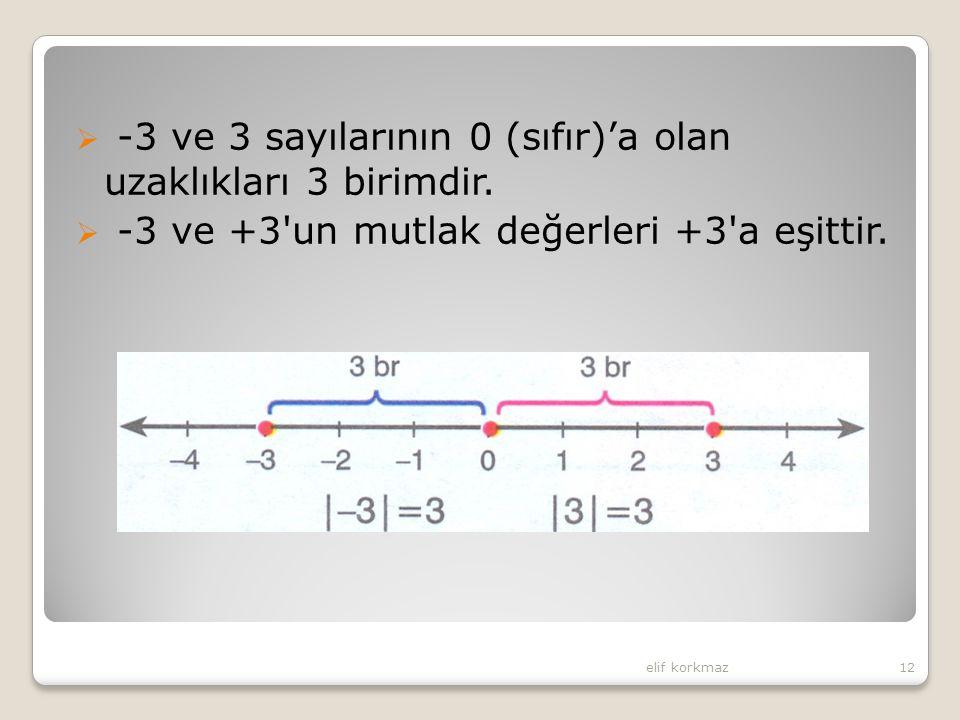 -3 ve 3 sayılarının 0 (sıfır)'a olan uzaklıkları 3 birimdir.