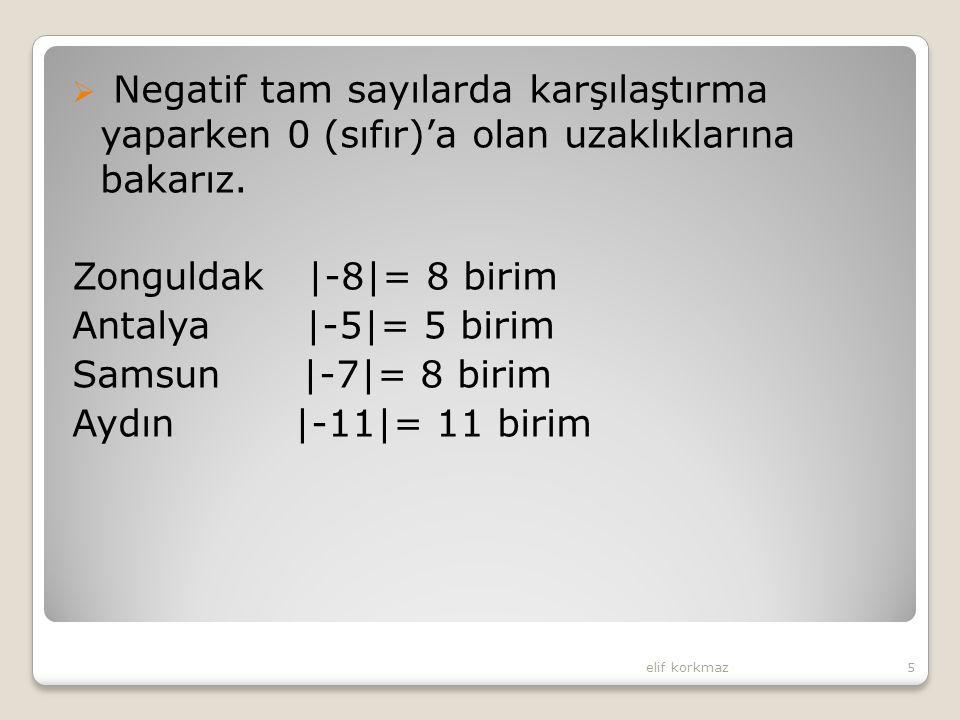 Negatif tam sayılarda karşılaştırma yaparken 0 (sıfır)'a olan uzaklıklarına bakarız.