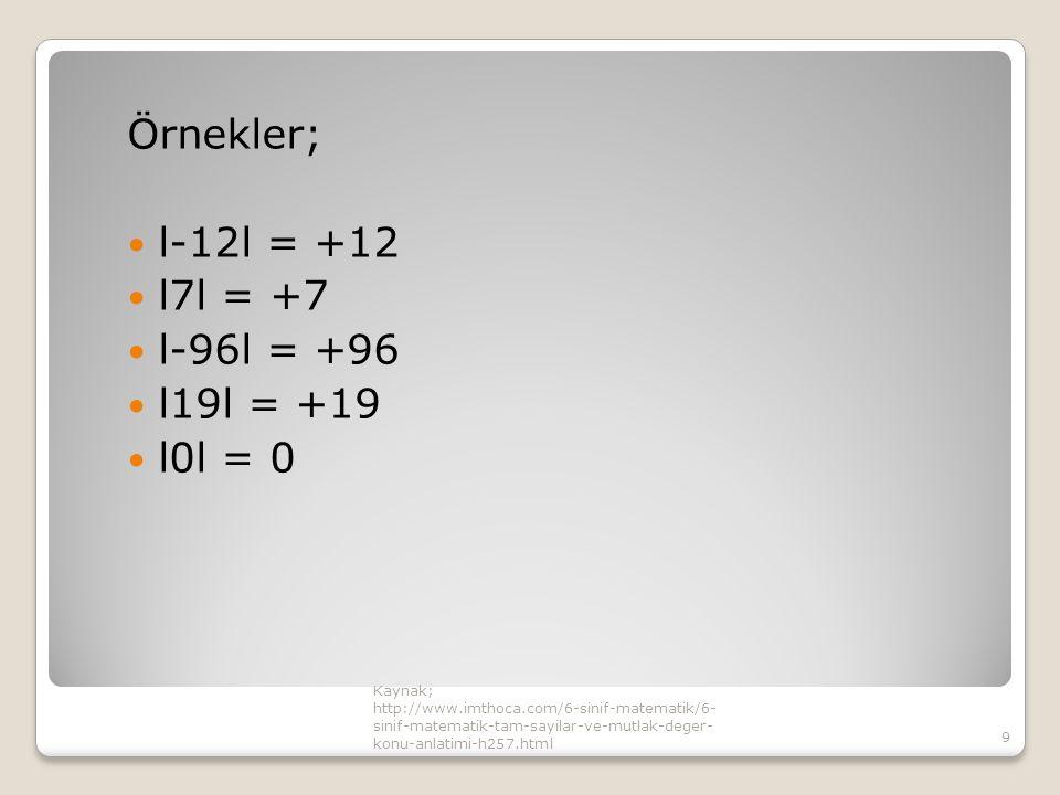 Örnekler; l-12l = +12 l7l = +7 l-96l = +96 l19l = +19 l0l = 0 Kaynak;