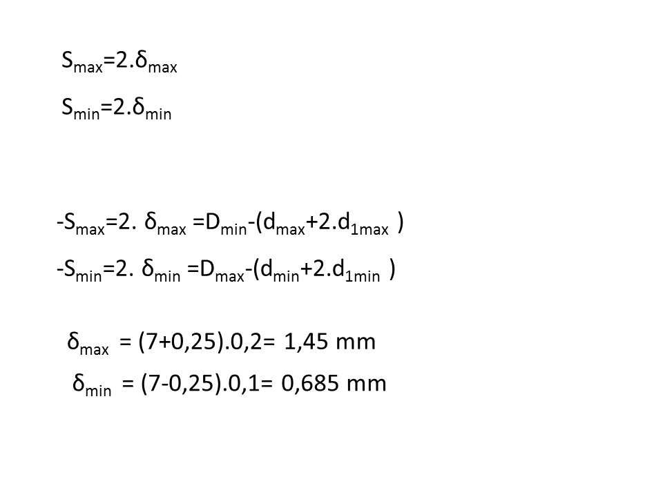 Smax=2.δmax Smin=2.δmin. -Smax=2. δmax =Dmin-(dmax+2.d1max ) -Smin=2. δmin =Dmax-(dmin+2.d1min ) δmax = (7+0,25).0,2= 1,45 mm.