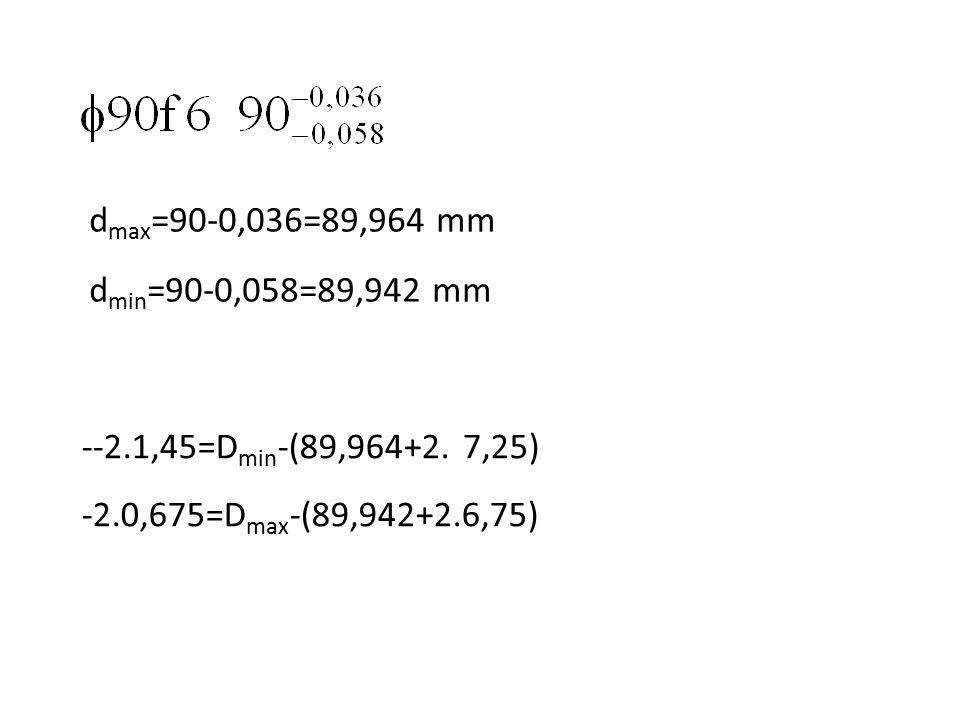 dmax=90-0,036=89,964 mm dmin=90-0,058=89,942 mm. --2.1,45=Dmin-(89,964+2.