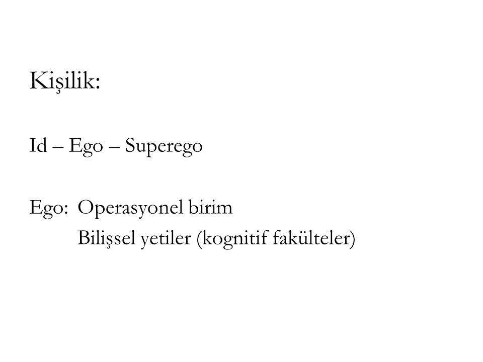 Kişilik: Id – Ego – Superego Ego: Operasyonel birim