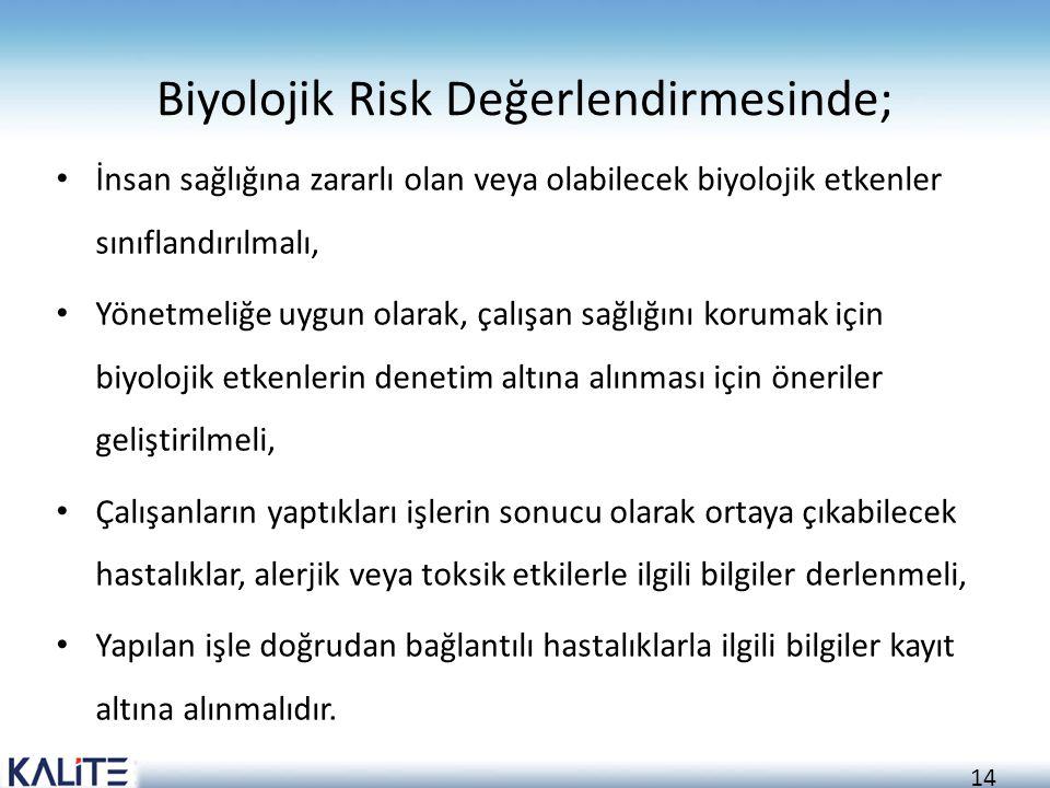 Biyolojik Risk Değerlendirmesinde;